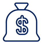 Back of money icon - blue - financial markets